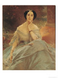 Portrait of the Countess of Hallez-Claparede, 1857 Giclee Print by Louis Edouard Dubufe