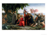 The First Landing of Christopher Columbus in America, 1862 Giclee Print by Discoro Téofilo de la Puebla