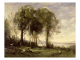 The Goatherds of Castel Gandolfo, 1866 Giclee Print by Jean-Baptiste-Camille Corot
