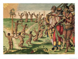"Sun Worshipping Ritual with an Offering of a Deer, from ""Brevis Narratio"" Giclee Print by Jacques Le Moyne"