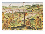 "Indians Training for War, from ""Brevis Narratio..."", 1591 Giclee Print by Jacques Le Moyne"
