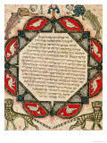 Page from a Hebrew Bible Depicting Fish with the Heads of Humans and Wildcats, 1299 Premium Giclee Print by Joseph Asarfati