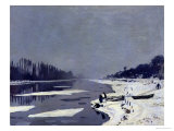 Ice on the Seine at Bougival, circa 1864-69 Giclee Print by Claude Monet