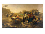 Threshing Rapeseed in the Fields of Lille Giclee Print by Auguste Joseph Herlin