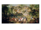 Hunting in the Forest of Fontainebleau at Franchard Giclee Print by Jean-Baptiste Oudry