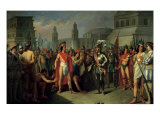 The Imprisonment of Guatimocin by the Troops of Hernan Cortes, 1856 Giclee Print by Carlos Maria Esquivel