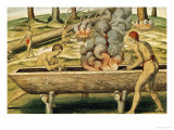 """Indians Making a Dugout Canoe, from """"Admiranda Narratio..."""", Published by Theodore de Bry Giclee Print by Theodor de Bry"""