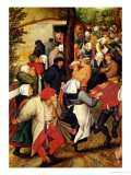 Rustic Wedding, Detail of People Dancing Giclee Print by Pieter Brueghel the Younger