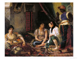 The Women of Algiers in Their Apartment, 1834 Premium Giclee Print by Eugene Delacroix