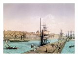 "View of the Port of Boulogne, from a Series Entitled ""La France de Nos Jours"", 1856 Reproduction procédé giclée par Leon Auguste Asselineau"