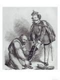 Right Leg in the Boot at Last, Caricature of Giuseppe Garibaldi and the King of Italy Giclee Print