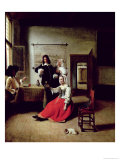 Woman Drinking with Soldiers, 1658 Giclee Print by Pieter de Hooch