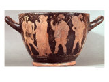 Skyphos Depicting the Abduction of Briseis by Agamemnon with Talthybios and Diomedes, c. 480 BC Giclee Print