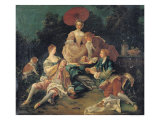 Picnic in a Park Giclee Print by Nicolas Lancret