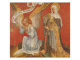 Panel from a Diptych Depicting the Angel of the Annunciation, the Donor and a Female Saint Giclee Print by Master Of The Rohan Hours