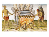 "Cooking Fish, from ""Admiranda Narratio..."", 1585-88 Giclee Print by John White"