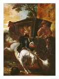 With a Musket on His Back, Ragotin Climbs onto His Horse to Accompany the Troupe Giclee Print by Jean De Coulom