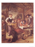 Joyful Company Under a Crib Giclee Print by Jan Havicksz. Steen