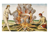 "Cooking Food in a Terracotta Pot, from ""Admiranda Narratio... "" Giclee Print by John White"