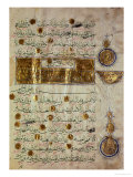 Seljuk Style Koran with Coloured Inscriptions and Decorative Counting Medallions in the Margins Giclee Print