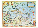 Map of the Caribbean Islands and the American State of Florida Giclee Print by Theodor de Bry