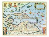Mapa del Caribe y Estado Américano de Florida Lámina giclée premium por Theodor de Bry