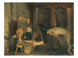 An Elderly Woman Winding Hemp Near a Press Giclee Print by Victor Marie Roussin