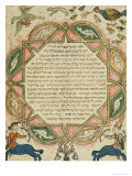 Page from a Hebrew Bible Depicting Domestic Animals and Centaurs, 1299 Giclee Print by Joseph Asarfati