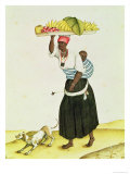 A Woman Carrying a Tray of Fruit on Her Head Giclee Print by Carlos Juliao