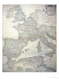 Map of the Western Part of the Roman Empire, 1763 Giclee Print by Jean-baptiste D'anville