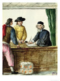 A Jewish Shopkeeper with Two Clients Reproduction proc&#233;d&#233; gicl&#233;e par Jan van Grevenbroeck