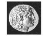 Coin Bearing the Head of Alexander the Great with the Horns of the Egyptian God Amun Giclee Print