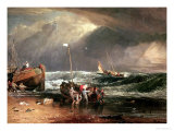The Iveagh Seapiece, or Coast Scene of Fisherman Hauling a Boat Ashore Giclee Print by William Turner