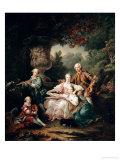 Louis Du Bouchet Marquis de Sourches and His Family, 1750 Impression giclée par Francois Hubert Drouais