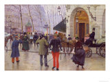 The Boulevard des Capucines and the Vaudeville Theatre, 1889 Gicléedruk van Jean Béraud