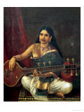Young Woman with a Veena Premium Giclee Print by Raja Ravi Varma
