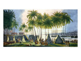 "Port of Hanarourou in the Sandwich Islands, from ""Voyage Pittoresque Autour Du Monde"" Giclee Print by Ludwig Choris"