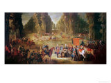 Meeting for the Puits-Du-Roi Hunt at Compiegne Giclee Print by Jean-Baptiste Oudry