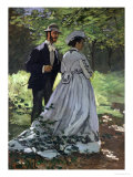 The Promenaders, or Bazille and Camille, 1865 Giclee Print by Claude Monet