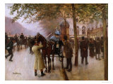 The Boulevards, Evening in Front of the Cafe Napolitain, Late 19th Century Giclee Print by Jean Béraud
