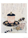 A Pot of Tea and Keys, 1822 Premium Giclee Print by Katsushika Hokusai