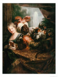 Young Black Man Holding a Basket of Fruit and a Young Girl Stroking a Dog Giclee Print by Antoine Coypel