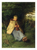 The Knitter Or, the Seated Shepherdess, 1858-60 Giclee Print by Jean-François Millet