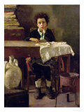 The Little Schoolboy, or the Poor Schoolboy Giclee Print by Antonio Mancini