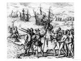 Christopher Columbus Receiving Gifts from the Cacique, Guacanagari Giclee Print by Theodor de Bry
