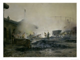 The Gas Factory at Courcelles, 1884 Giclee Print by Ernest Jean Delahaye