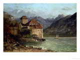 The Chateau de Chillon, 1875 Reproduction giclée Premium par Gustave Courbet