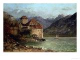 Gustave Courbet - The Chateau de Chillon, 1875 Digitálně vytištěná reprodukce