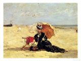 Woman with a Parasol on the Beach, 1880 Premium Giclee Print by Eugène Boudin