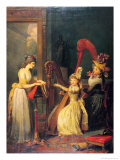 Harp Lesson Given by Madame de Genlis to Mademoiselle D'Orleans, 1842 Giclee Print by Jean Baptiste Mauzaisse